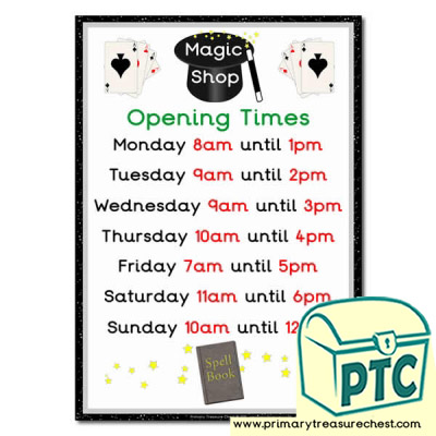 Magic Shop Role Play Opening Times Sign (O'clock times)