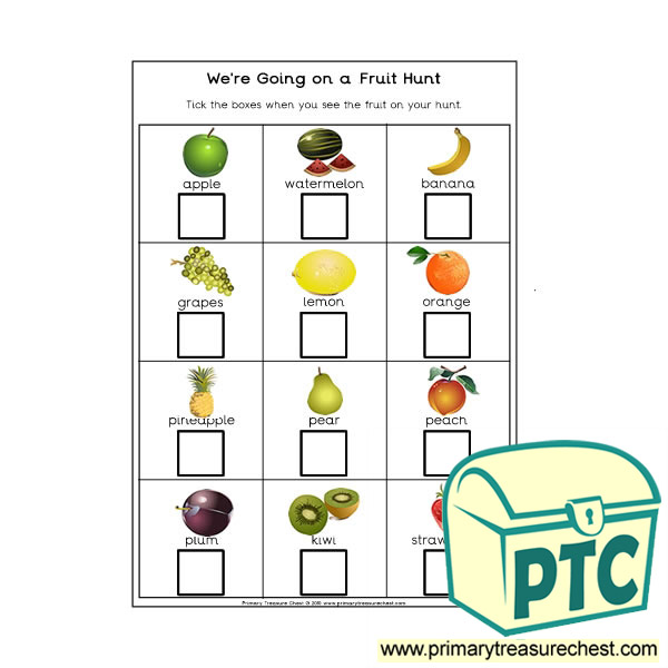 We're Going on a Fruit Hunt Worksheet