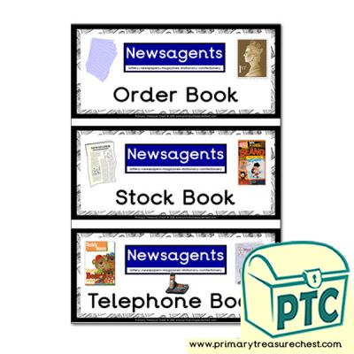Newsagents Shop Role Play Book Covers / Labels