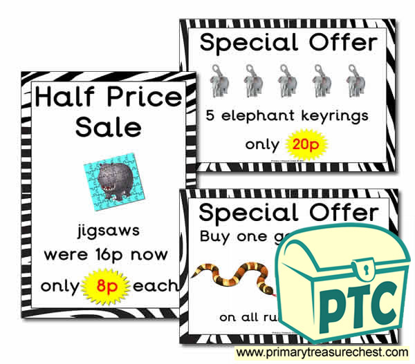 Zoo Gift Shop Special Offers (1-20p)