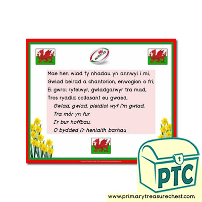 Welsh National Anthem Poster Primary Treasure Chest