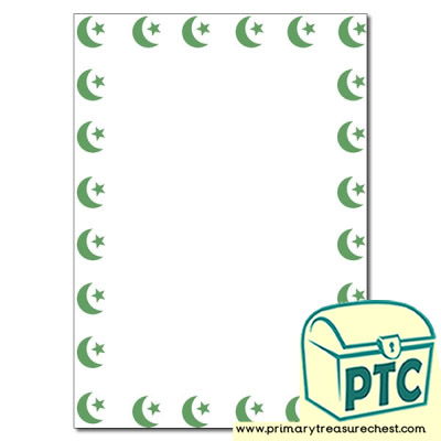 Islam Star and crescent symbol Page Border/Writing Frame (no lines)