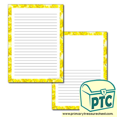 Daffodil Themed Page Border - Narrow Lines