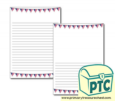 American Flag Bunting Page Border/Writing Frame (narrow lines)