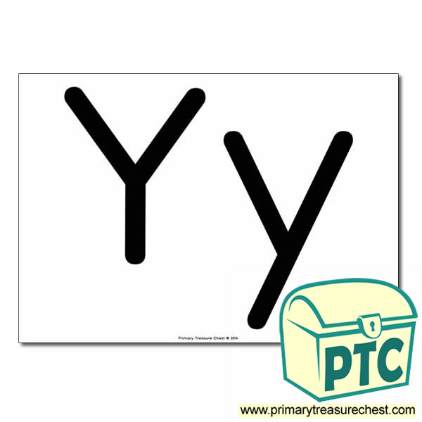 'Yy' Upper and Lowercase Letters A4 poster (No Images)