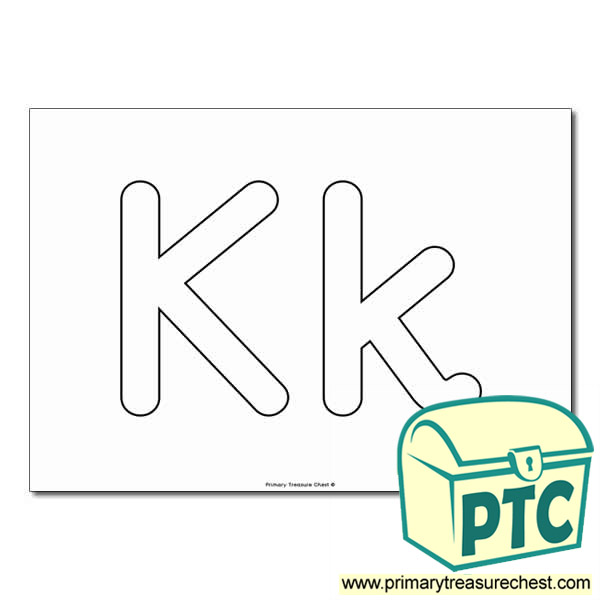 'Kk' Upper and Lowercase Bubble Letters A4 Poster - No Images.
