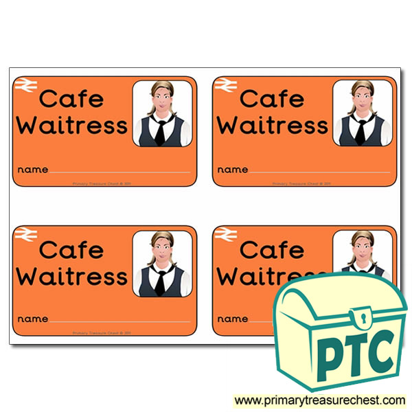 Role Play Train Station Cafe Waitress ID Badges
