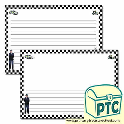 Police Themed Landscape Page Border/Writing Frame (narrow lines)