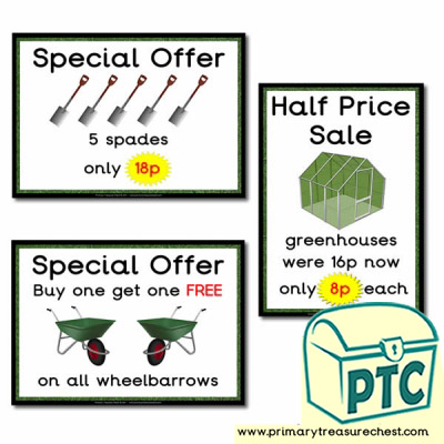Role Play Garden Centre Equipment Special Offers Posters (1-20p)