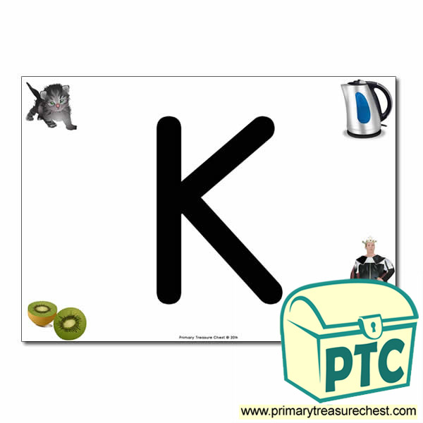 'K' Uppercase Letter A4 poster with high quality realistic images