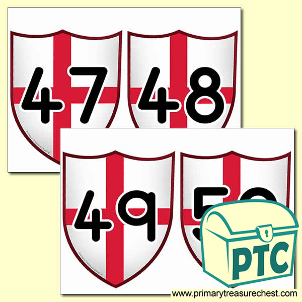 Saint George's Flag Themed Number Cards 26 to 50