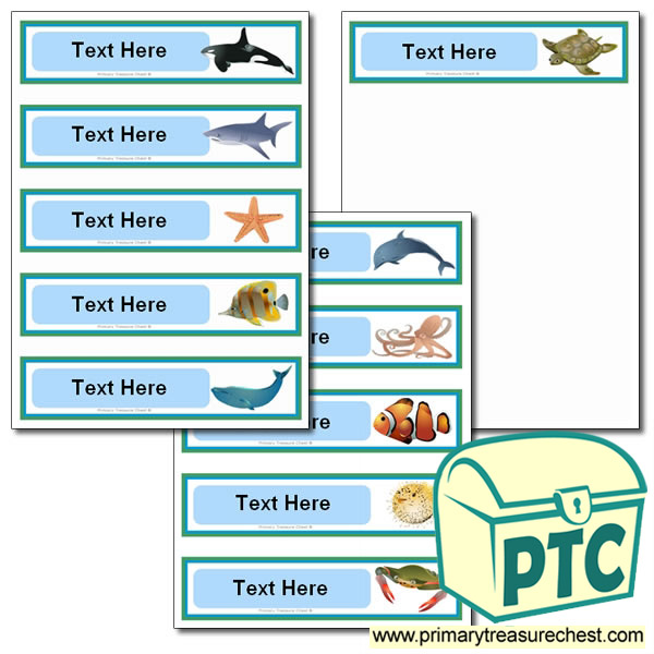 Various Sea Life Themed Pupil Drawer Labels (Small)