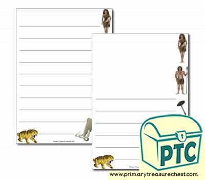 Caveman themed Page Border/ Writing Frames (wide lines)
