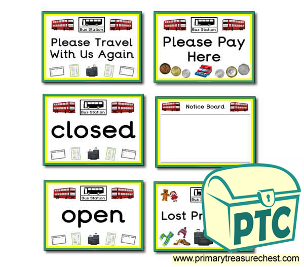 Bus Station Role Play Signs
