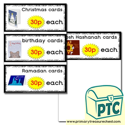 Role Play Newsagents Cards Prices Flashcards