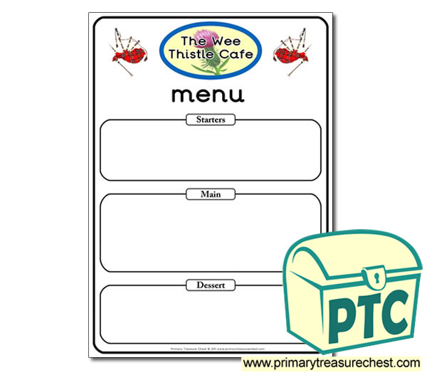 Scottish Cafe Role Play Menu