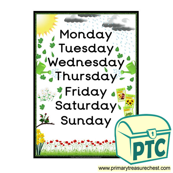 Days of the Week Gardening Poster