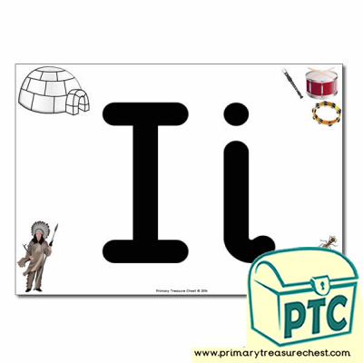 'Ii' Upper and Lowercase Letters A4 posterposter with realistic images