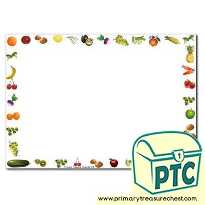 Fruit and Vegetables themed Landscape Page Border /Writing Frame (no lines)