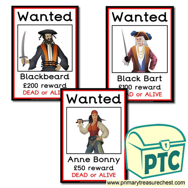 Pirate Role Play Wanted Posters