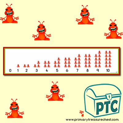 Red Alien Number Shapes Display Banner