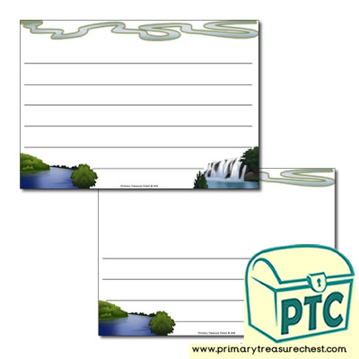 River Themed Landscape Page Border/Writing Frame (wide lines)