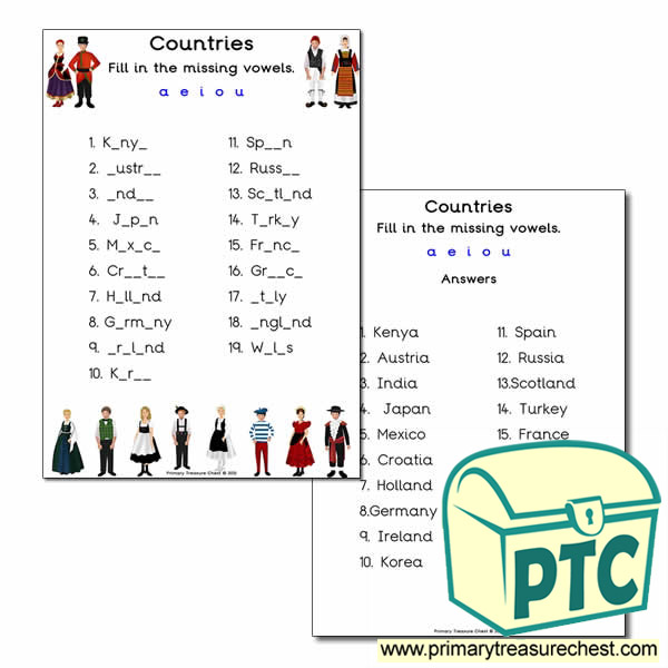 Traditional Clothes Missing Vowels Worksheet Primary