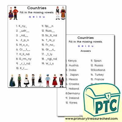 Traditional clothes Missing Vowels Worksheet