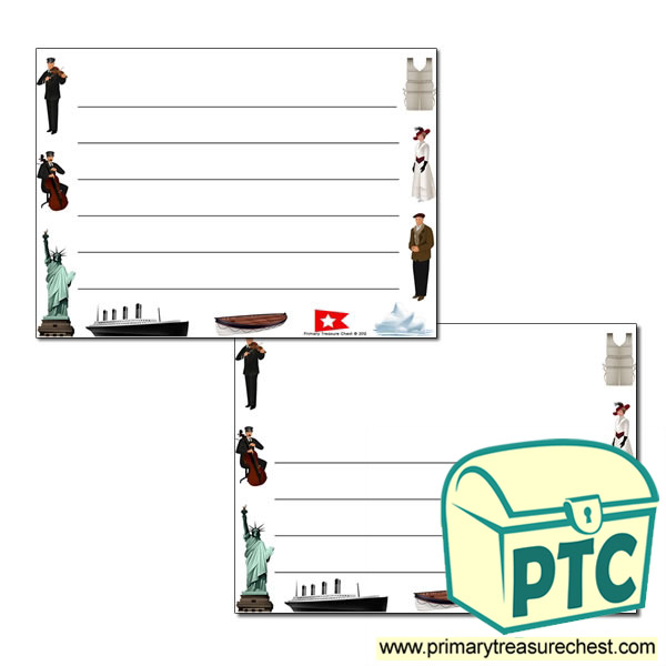 Titanic Landscape Page Border/Writing Frame (wide lines)