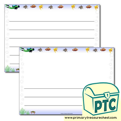 'Under the Sea' Themed Landscape Page Border/Writing Frame (wide lines)