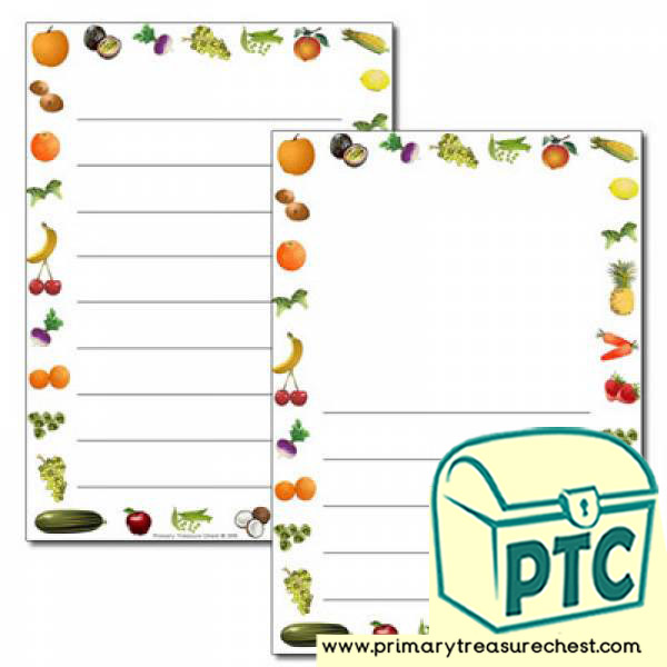 Fruit and Vegetables themed Page Border /Writing Frame (wide lines)