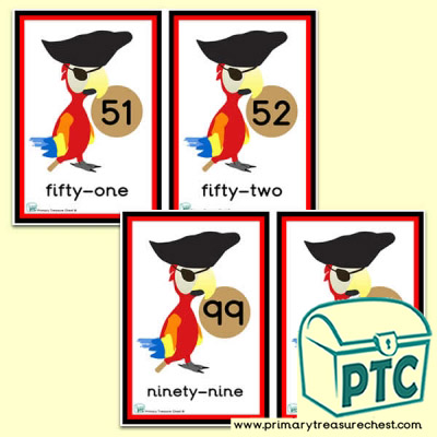 Pirate parrot  Number Line 51 to 100