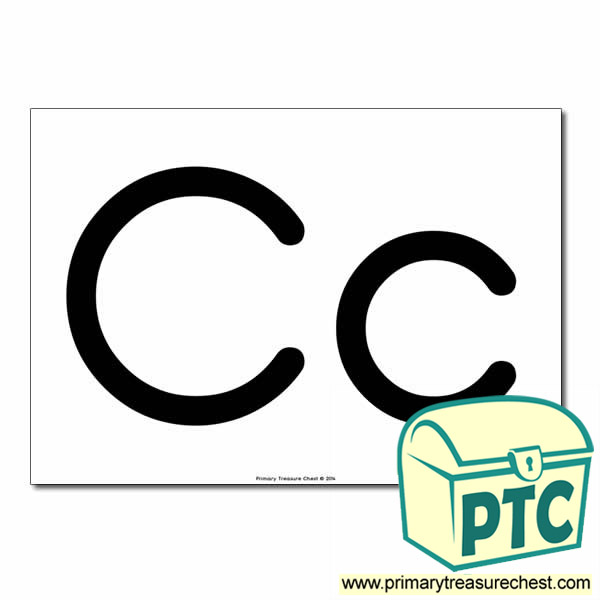'Cc' Upper and Lowercase Letters A4 poster (No Images)