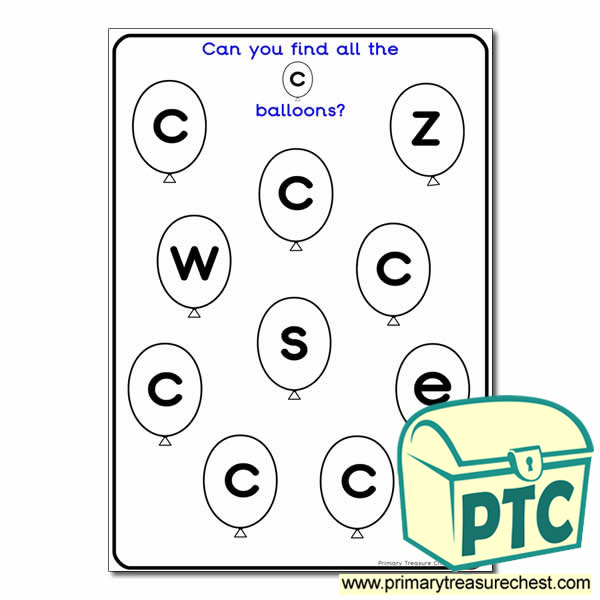 Letter 'c' Balloon Activity Sheet