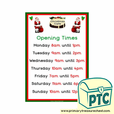 Christmas Role Play Cafe Opening Times (O'clock)