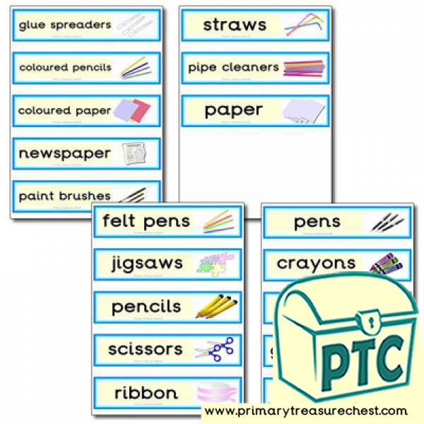 Double mounted effect draw labels with Classroom Equipment images