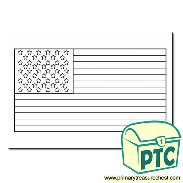 - American Flag Coloring Sheet - Classroom Printables For Elementary &  Kindergarten School - Primary Treasure Chest