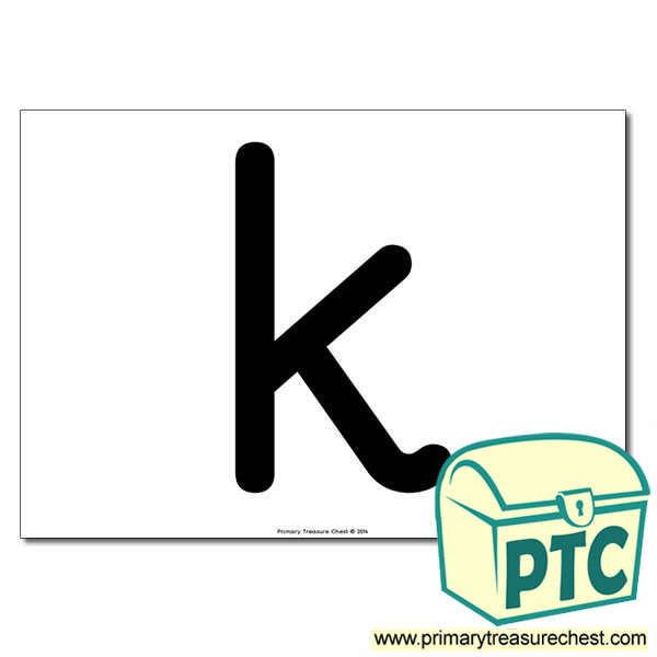'k' Lowercase Letter A4 poster  (No Images)