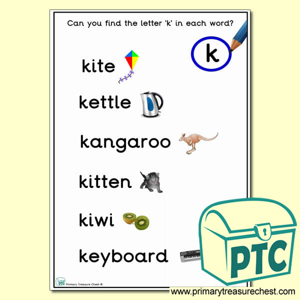 Find the Letter 'k' Activity Sheet