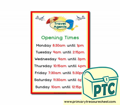 Role Play Travel Agents Opening Times Poster (Quarter & Half Past)