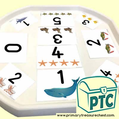 Under the Sea Themed Number Tuff Tray Cards