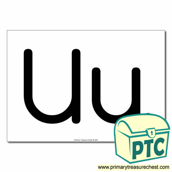 'Uu' Upper and Lowercase Letters A4 poster (No Images)
