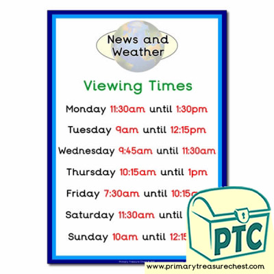 Viewing Times (Quarter & Half Past) for Your News Desk and Weather Forecasting Role Play