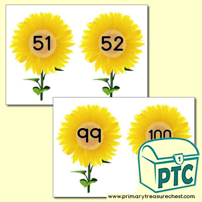 Sunflower  Number Line 51-100