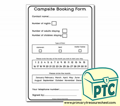 Role Play Campsite Booking Form Worksheet