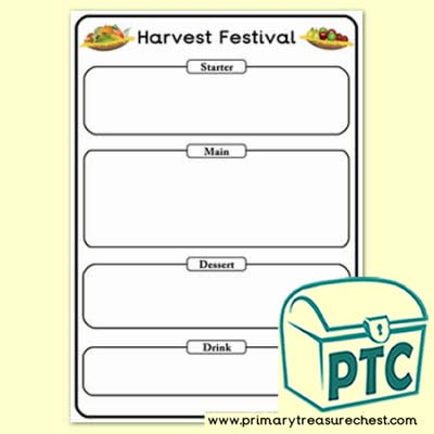 Harvest Festival Menu Worksheet