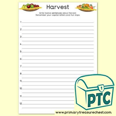 Harvest Sentence Activity Worksheet
