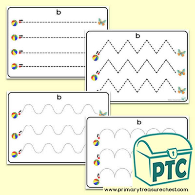 'Bb' Themed Pre-Writing Patterns Activity Sheets