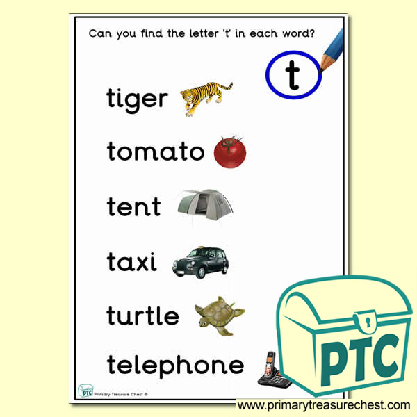 Find the Letter 't' Activity Sheet