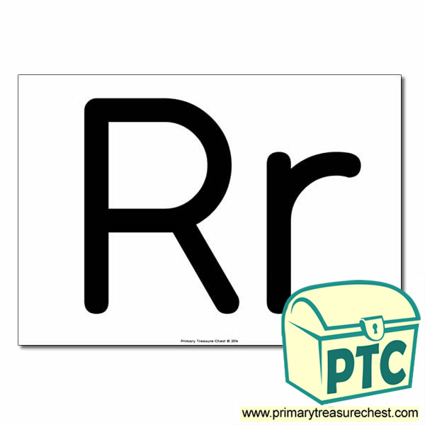'Rr' Upper and Lowercase Letters A4 poster (No Images)